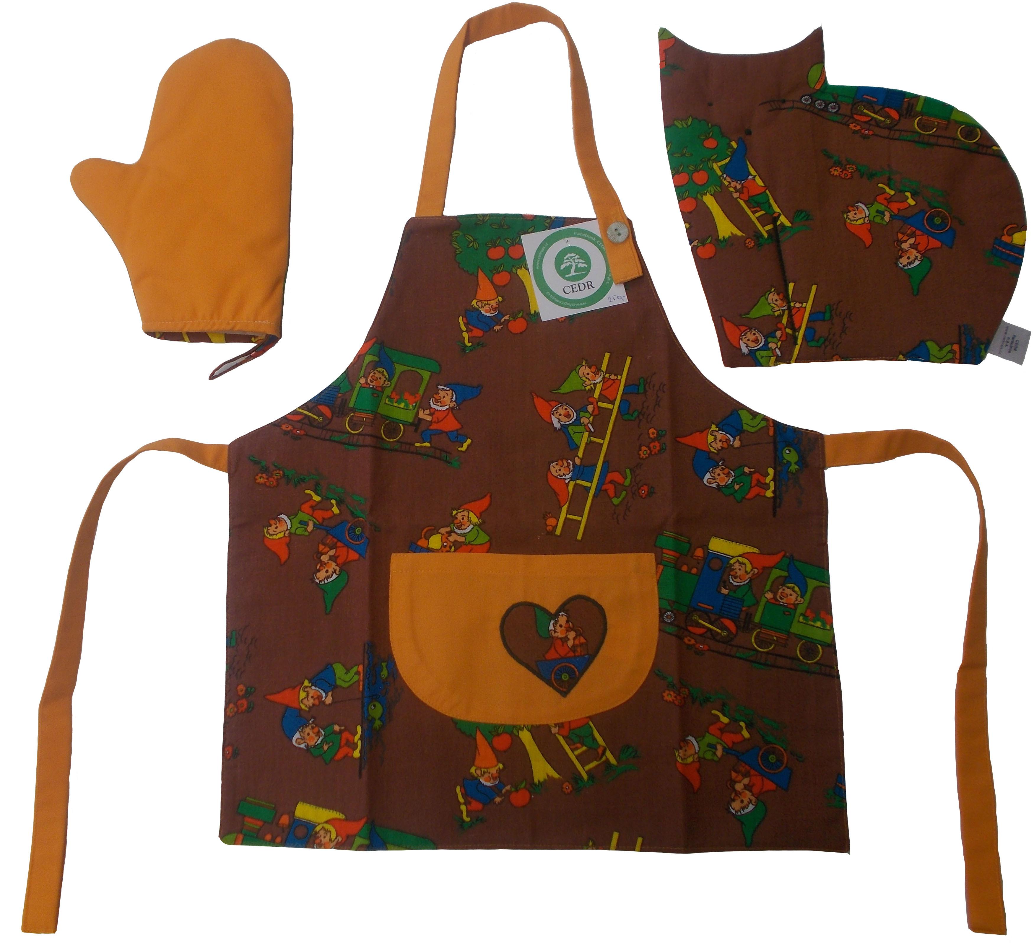 CEDR Kuchyňská dětská sada obsahující zástěru, chňapku a podložku